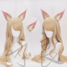 LOL ligue des légendes KDA Ahri Cosplay perruque longue droite Blonde ondulée résistant à la chaleur synthétique cheveux perruques + deux oreilles + perruque casquette