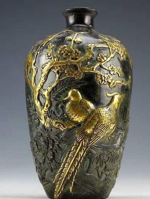 Китайская Винтажная Коллекция, бронзовые статуи с золотым покрытием, Цветочная ваза с птицами, 20 см