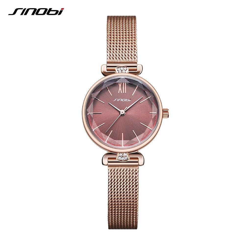 SINOBI Fashion Elegant Watch Women Watches Diamond Thin Watch Japan Quartz Watch Ladies Rose Golden Wristwatch Montre Femme 2019 enlarge