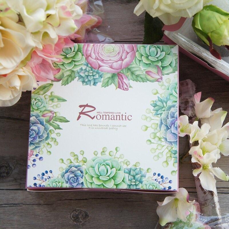 13,5*13,5*5 cm 10 Uds. Caja de papel de diseño suculento romántico para cajas de almacenamiento de galletas de caramelo Paquete de regalo de San Valentín boda Navidad
