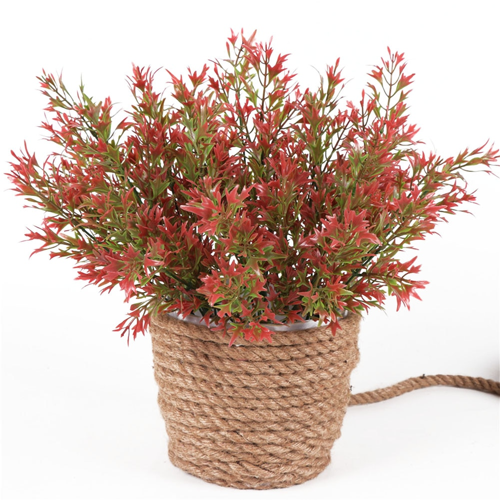 5 Forks Artificial Chrysanthemum Leaves Fresh Green Grass Plastic Plants Fake Flowers Bonsai Garden Decor Home Office Decoration