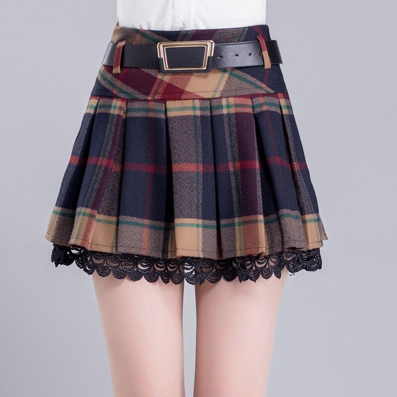 2020 Otoño e Invierno moda casual sexy marca de las mujeres jóvenes niñas plaid plisado lace faldas ropa