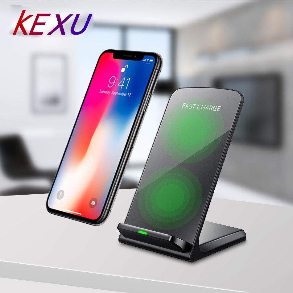 KEXU Qi 10W Drahtlose Ladegerät QC 3,0 Quick Charge Stehen Dock Dual Coil Telefon Ladegerät für iPhone 8 8 plus X Samsung S9 S8 S7 HINWEIS 8
