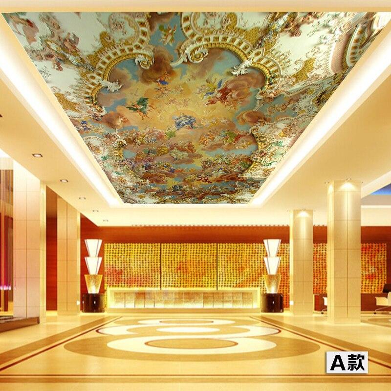 3D grandes fondos de pared personalizados Mural techo cenith alta calidad pintura europea Hotel Bar KTV Clubs techo suelo papel de pared