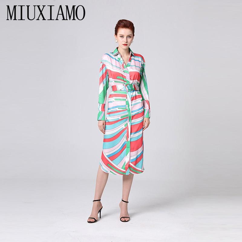 MIUXIMAO Custom Plus Size Dress 2019 Summer New Arrival Full Colourful Print Loose Floor-Length Dress Women With Belt