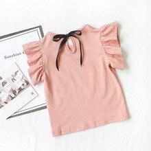 T-shirts manches volantes pour filles   En coton, décontracté, à la mode, pour bébés filles de 2 3 4 5 6 7 ans