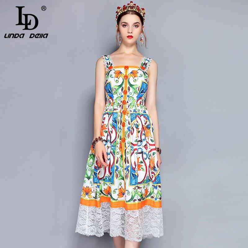 LD LINDA DELLA vestido de verano de pasarela de moda para mujer vestido de tirantes finos de encaje Patchwork hermosa floral vestido estampado informal