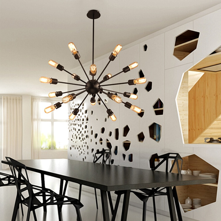 Sputnik  Mid Century vintage Modern industrial iron pendant lamp lighting Loft light fixture