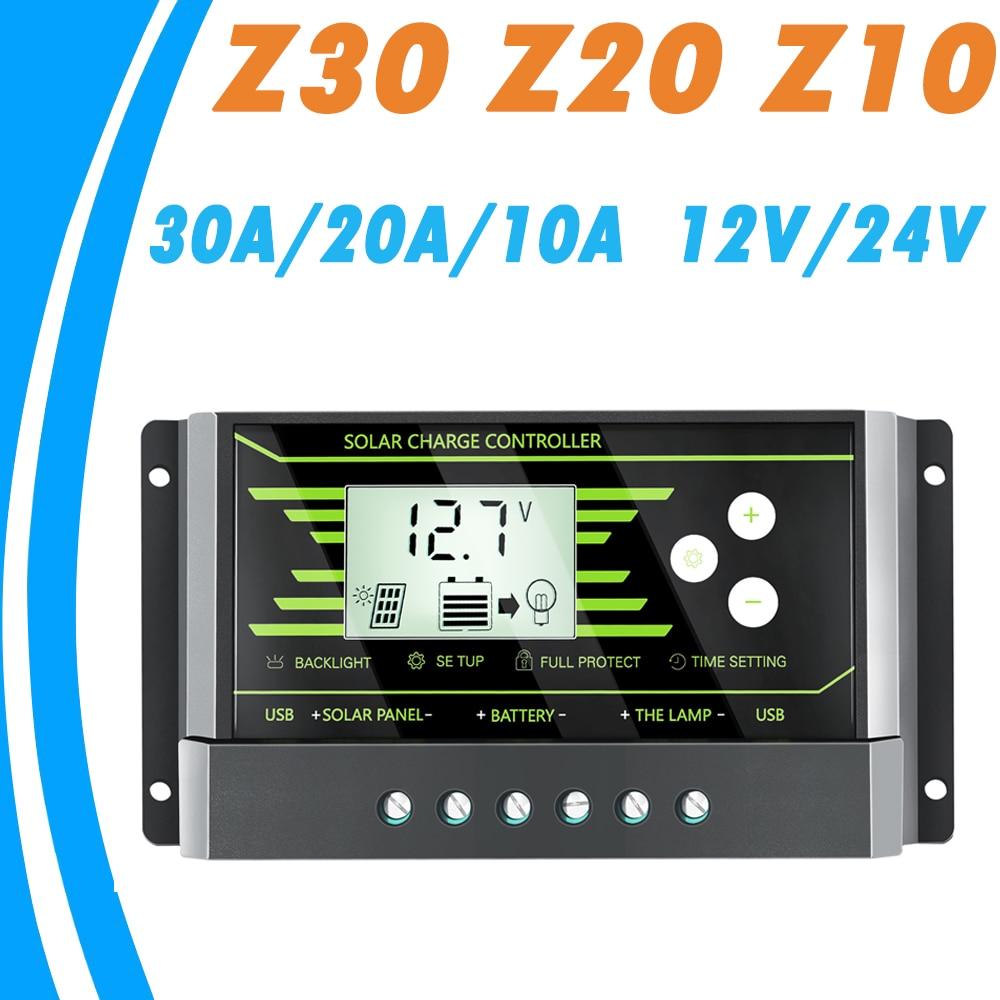 PWM 10A 20A 30A güneş şarj kontrol cihazı 12 V 24 V Otomatik arkadan aydınlatmalı LCD GÜNEŞ PANELI çift usbli şarj aleti 5 V Z Serisi güneş regülatörü Yeni