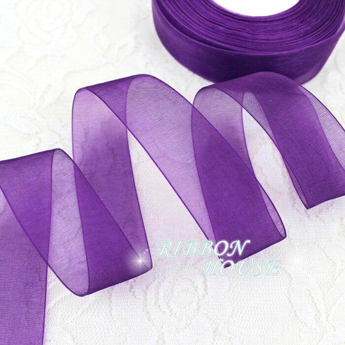 ( 50 metros / roll ) 1  ( 25 mm ) Deep purple organza fitas fitas de decoração embrulho de presente por atacado