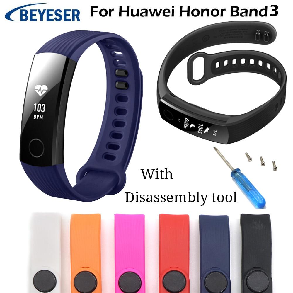 Pulseira inteligente em silicone macio, bracelete para huawei honor band 3, pulseira esportiva em silicone macio, para huawei honor 3, com ferramenta de reparo ajustável