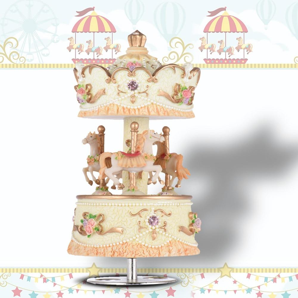 Laxury cuerda 3-caballo caja de música con diseño de carrusel Artware/regalo/melodía Castillo en el cielo rosa/púrpura/azul/color oro para la opción