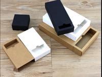 10pcs/lot 10 Size 32*20*5cm white large kraft paper drawer box,black packaging sliding box,big blank gift box for storage candy