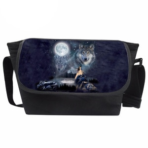 Messenger Bag Wolf Printing Bag Teenagers Cool Crossbody Bag for Moon Pattern Shoulder Bag Fashion Bolsa