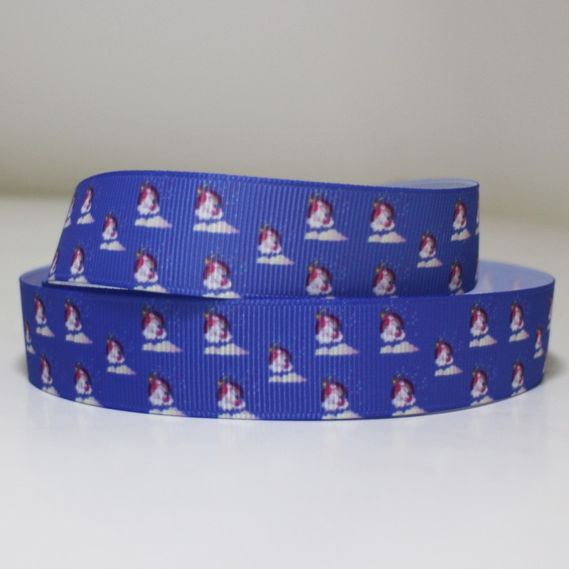 "50yards 7/8"" 1"" 1.5"" 2"" 3"" 22mm 25mm 38mm 50mm 75mm unicorn printed grosgrain ribbon for headband hair bow hair tie"