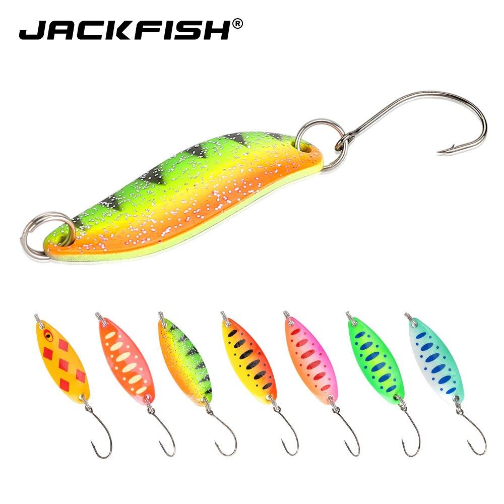 JACKFISH Spinner trucha cuchara Pesca señuelos Shads Wobblers Jig señuelos VIB duro cebos lentejuelas para equipo de Pesca de carpa Pesca Isca