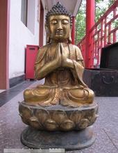 Тибетская Классическая Статуя Буддизм, Будда Шакьямуни, Будда, бронзовая позолота, 24