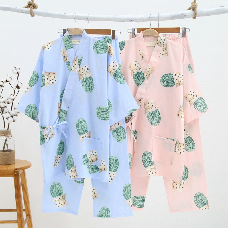 Womens Pajamas Cotton Kimono Pyjamas Women Cactus Print Home Clothes for Women Long Sleeve Kimono Robe & Long Pants Suit