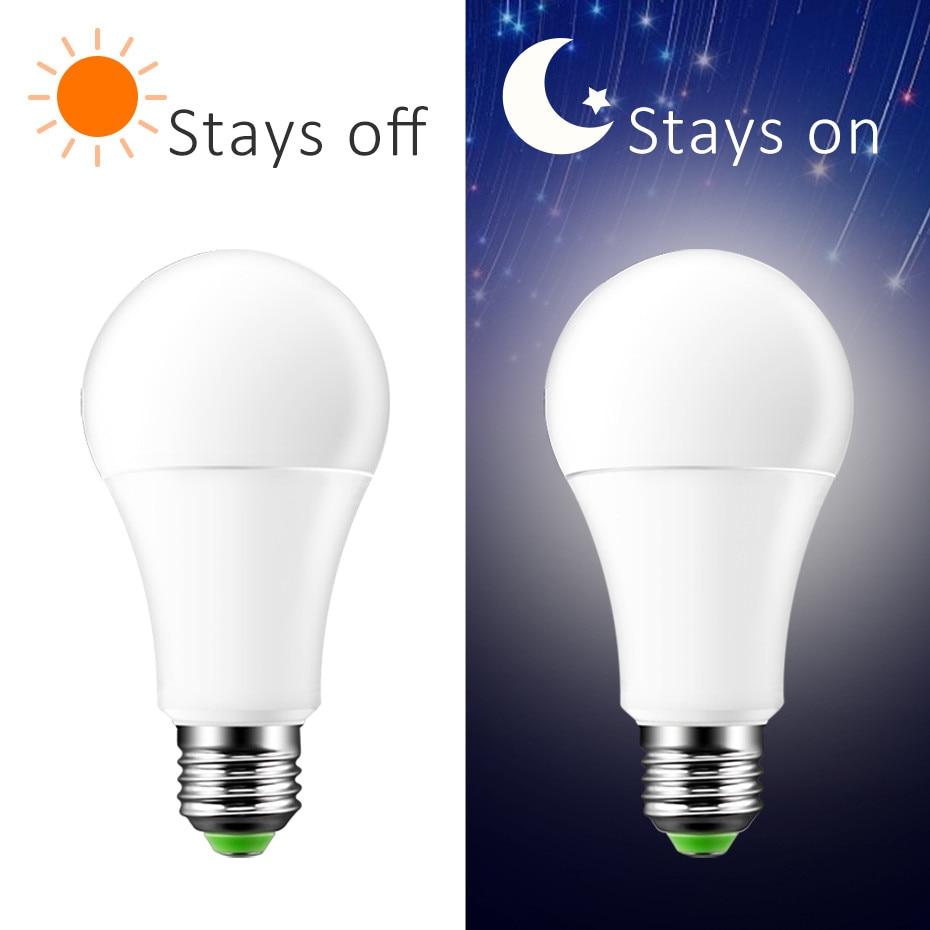LED Sensor Bulb E27 B22 10W 15W Dusk to Dawn Smart Lamp Bulb AC85V-265V Day Night Light Auto On/Off