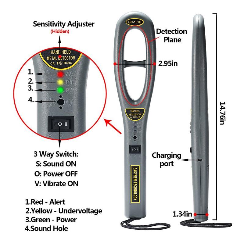 Varinha de pouco peso portátil do varredor da segurança do detector de metais à mão alta sensibilidade pinpointer lb88