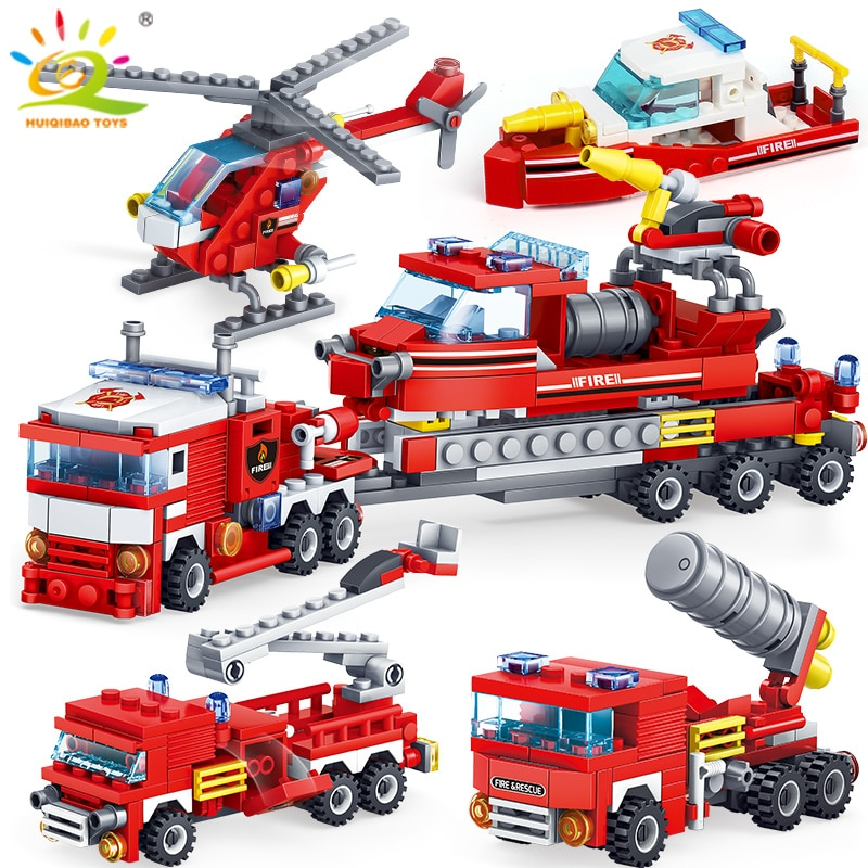 HUIQIBAO 348pcs אש לחימה 4in1 משאיות רכב מסוק סירת אבני בניין עיר כבאי דמויות גבר ילדי לבנים צעצועים