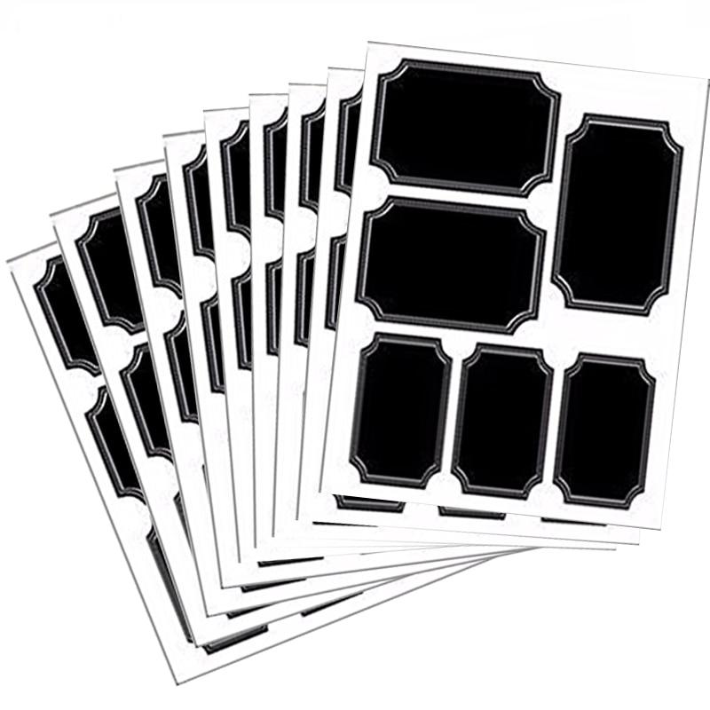 White Custom Border Chalkboard Labels Waterproof Adhesive Label Sticker for Promotional Gift Fancy Kitchen  Jar