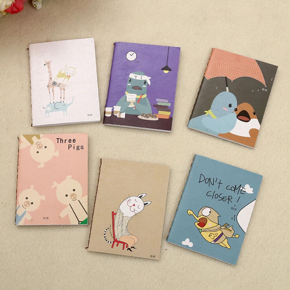 1Pcs 8x6cm lovely cartoon image notebook Vintage Retro Notepad Book for Kids Korean Stationery