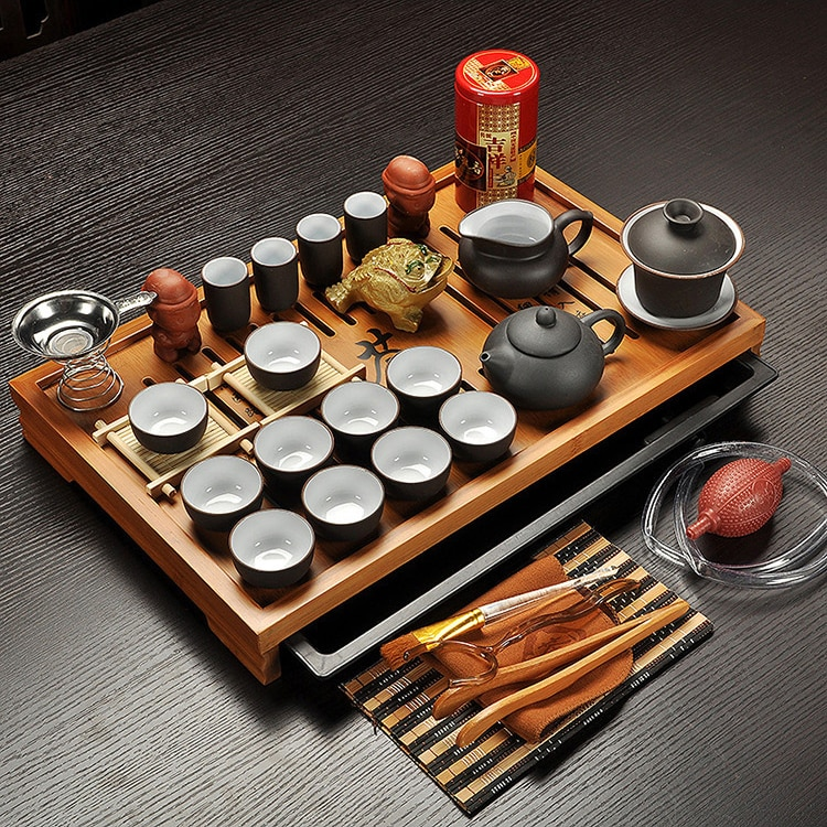 Jingdezhen Purple Clay Kung Fu Tea Set Drinkware Tea Cup,Tureen Infuser,Chinese Tea Ceremony with Gaiwan,Chahai Tea Table
