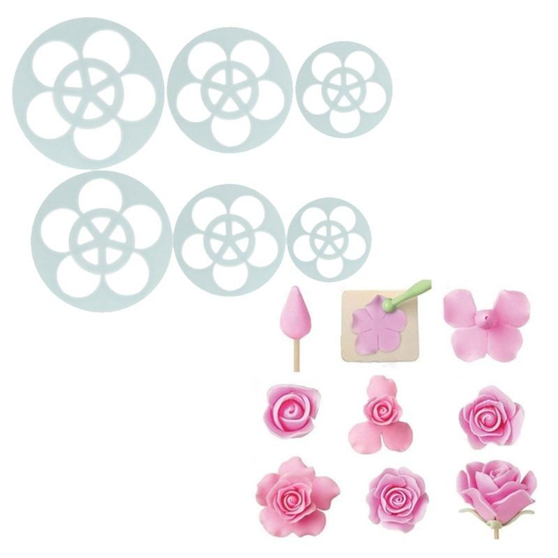 1 juego/6 piezas Fondant pastel Sugarcraft Rosa flor decoración galleta molde goma cortador herramienta