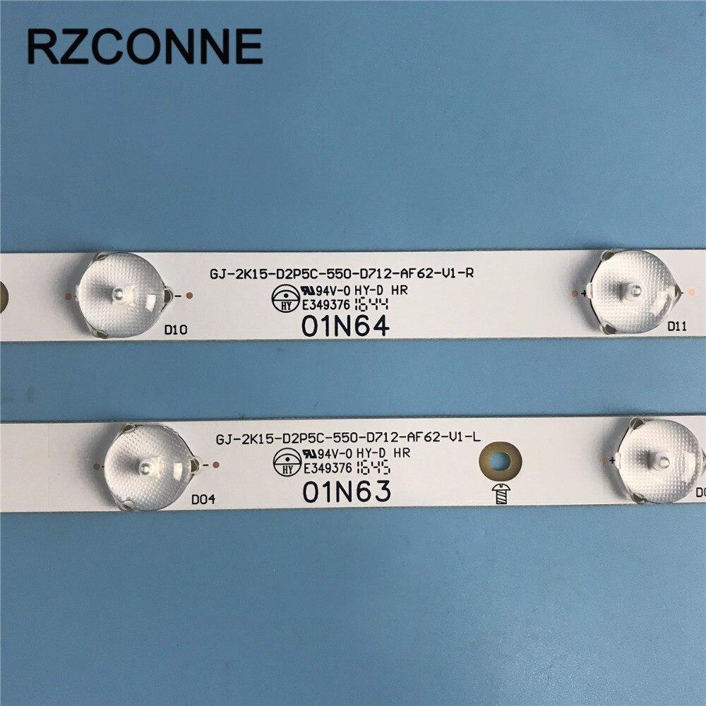 """Tira de LED para iluminación trasera para Phillips AOC 55 """"TV 55PUF6701/T3 GJ-2K15-D2P5C-550-D712-AF62-V1 55PUF6461/T3 TPT5501J"""