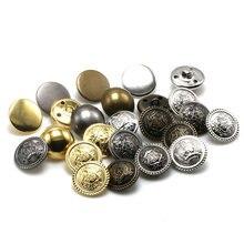 Abrigo plateado clásico Popular de alta calidad para Vaqueros, gran oferta, 10 unidades/lote, botones de bronce, accesorios para ropa, dorado DIY