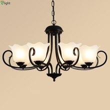 Américain rétro fer Led lustres lampe Lustre en verre salle à manger pendentif Led Lustre éclairage Led luminaires suspendus