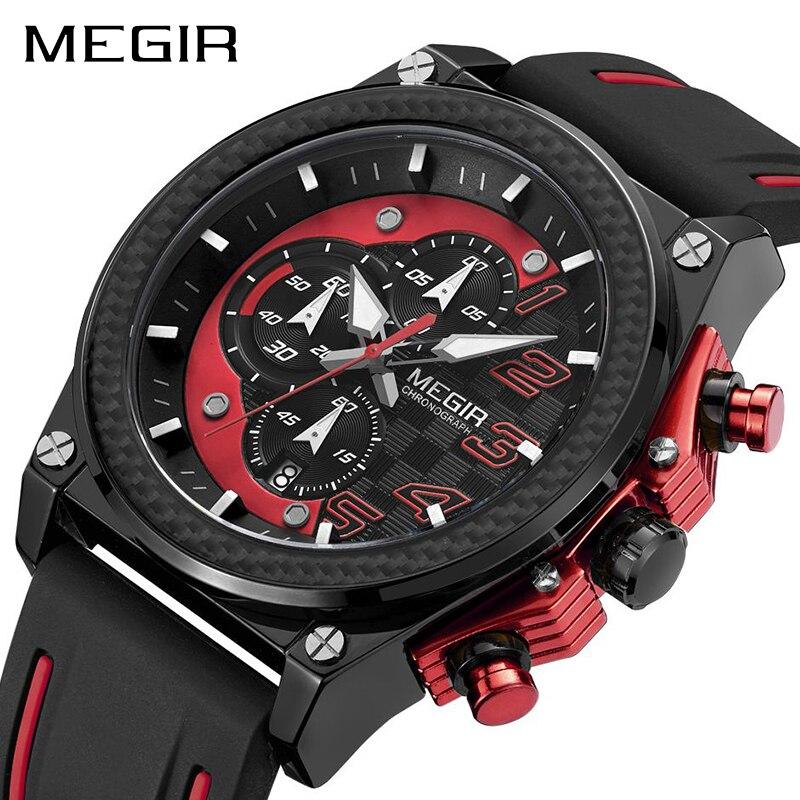 ساعة رجالية رياضية من MEGIR ساعة يد فاخرة من الكوارتز ساعة يد عسكرية من السيليكون ساعة رجالية كرونوغراف ساعة رجالية