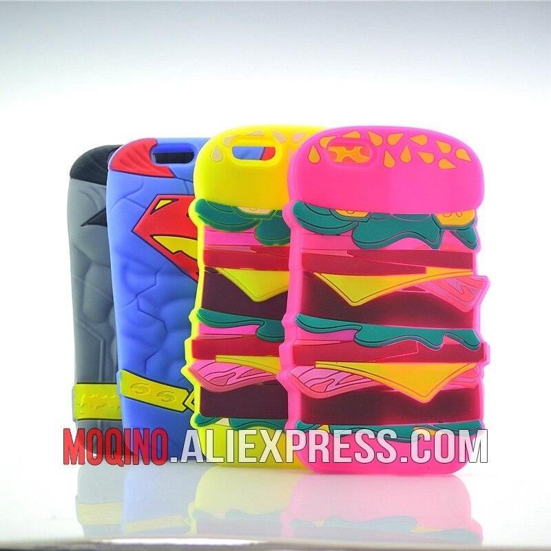 Para o iphone 5 5S se 6s 6 plus caso hambúrguer batman superman silicone telefone celular capas caso