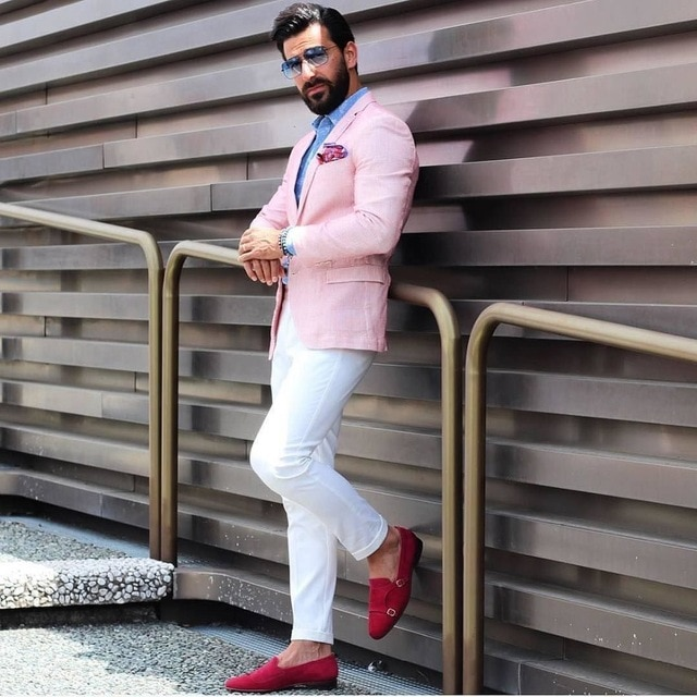 معطف وسروال رجالي ، موديل 2019 ، بدلات غير رسمية ، بدلة زفاف وردية ، بدلة زفاف ، أفضل بدلات رجالية