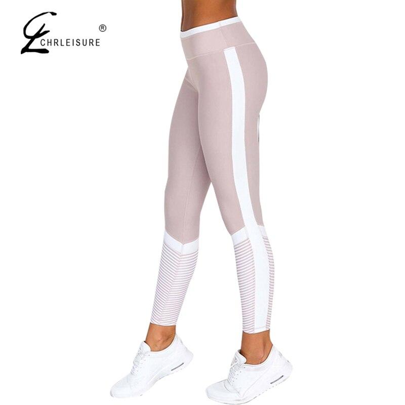 Chrleisure moda lado listra leggings push up feminino impressão digital leggings mulheres cintura alta exercício leggings calças femininas wo