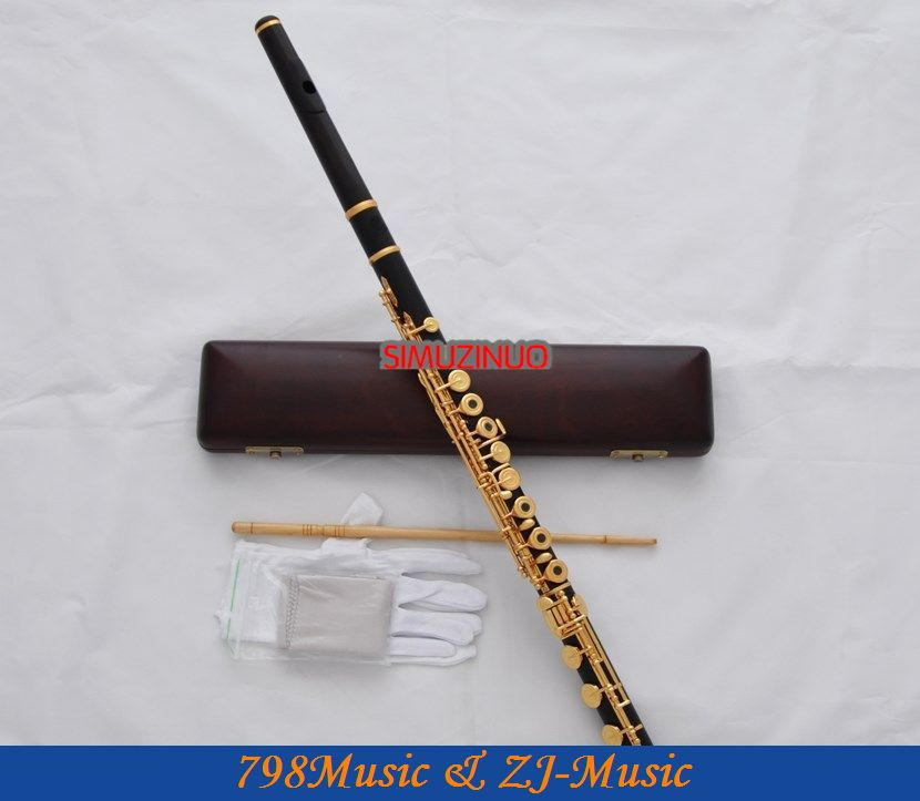 African Blackwood Grenadilla Flute-B foot-Open Hole-Split-E-Offset-G-Gold Plated WITH case