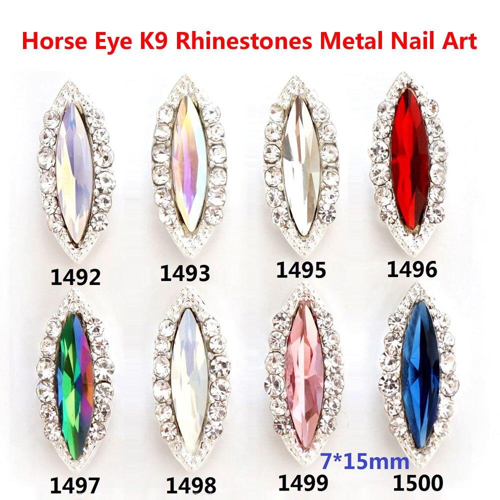 Fábrica venta al por mayor 10 piezas 7*15mm strass cristal uñas arte...