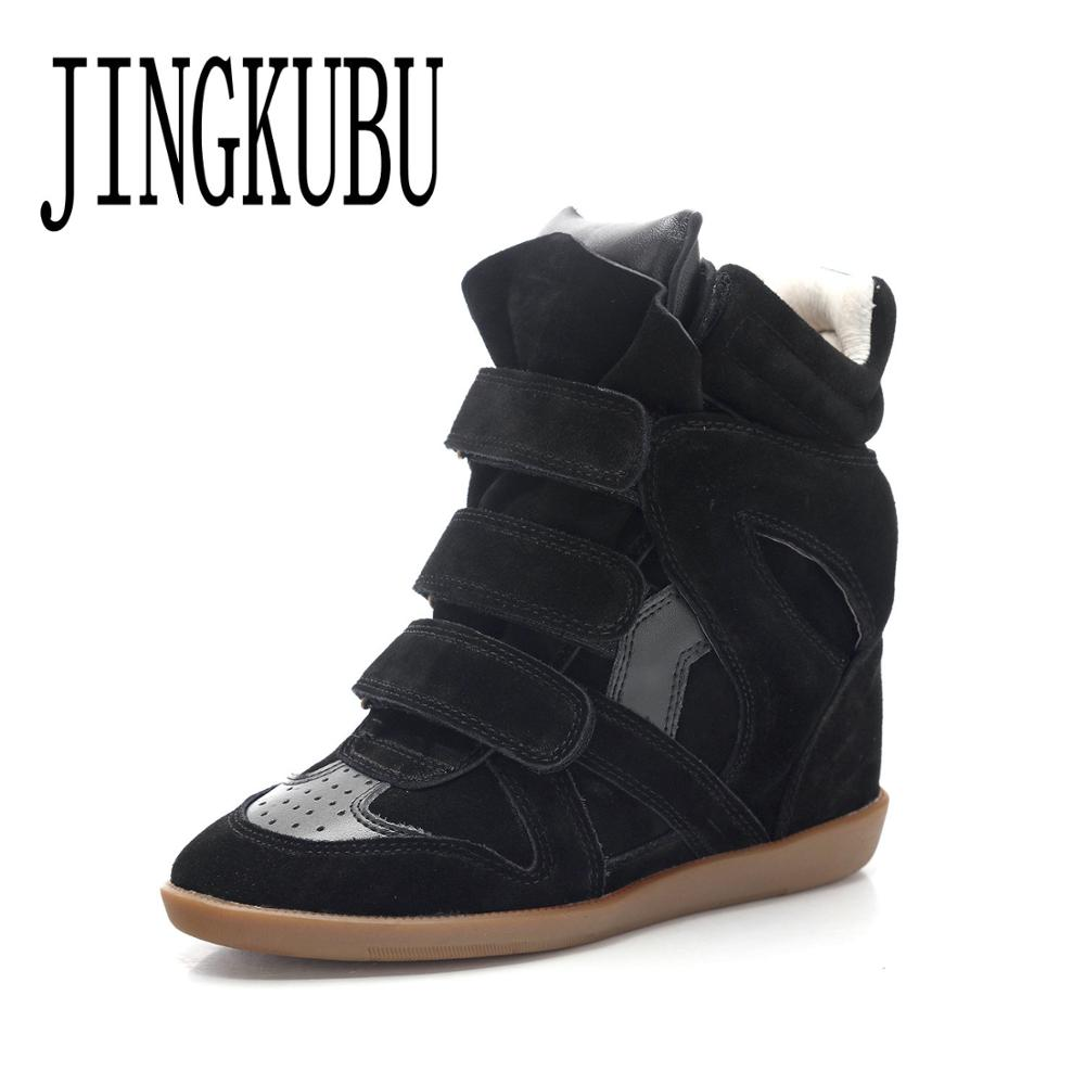 JINGKUBU New Cow Suede Boots Women Fashion Casual Shoes For Woman America And Europe Increased Within Shoes Woman Big Size 35-41