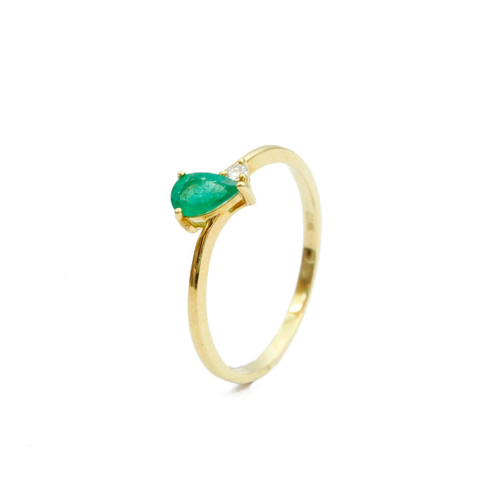 LASAMERO corte de pera 0.28ct Esmeralda natural gema gota de agua 18k oro amarillo minimalista diamante anillo de compromiso de piedra lateral