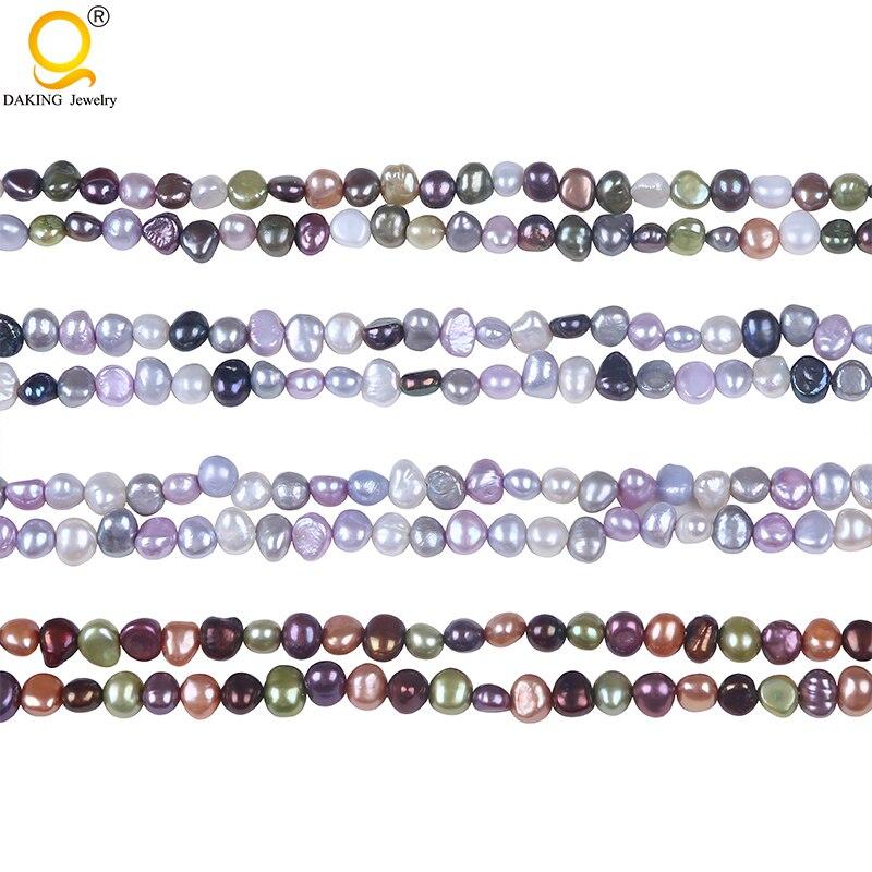 """Cuentas hilos sueltos de perlas de agua dulce con forma Barroca cultivada de 6-7mm 16 """"para collar y pulsera"""