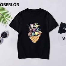 Ice Cream Pokemon Print T Shirts Women 2019 Summer Gothic Harajuku Aesthetic Streetwear Vintage Tops Shein Cotton Korean Clothes