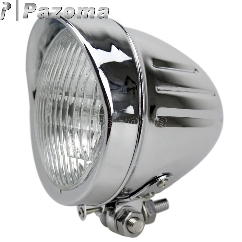 Pazoma marca nova frente bala de alumínio cromo lâmpada do farol para harley softail dyna sportster