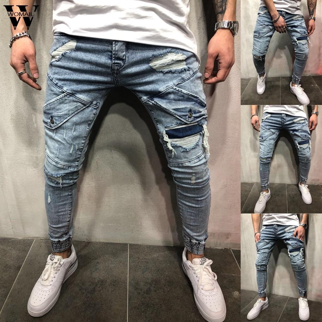 Womail pant Men Jeans Fashion Stretchy Skinny Destroyed Hole Slim Fit Denim Denim Pants Zipper High Quality Jean  S-4XL 2019 J64