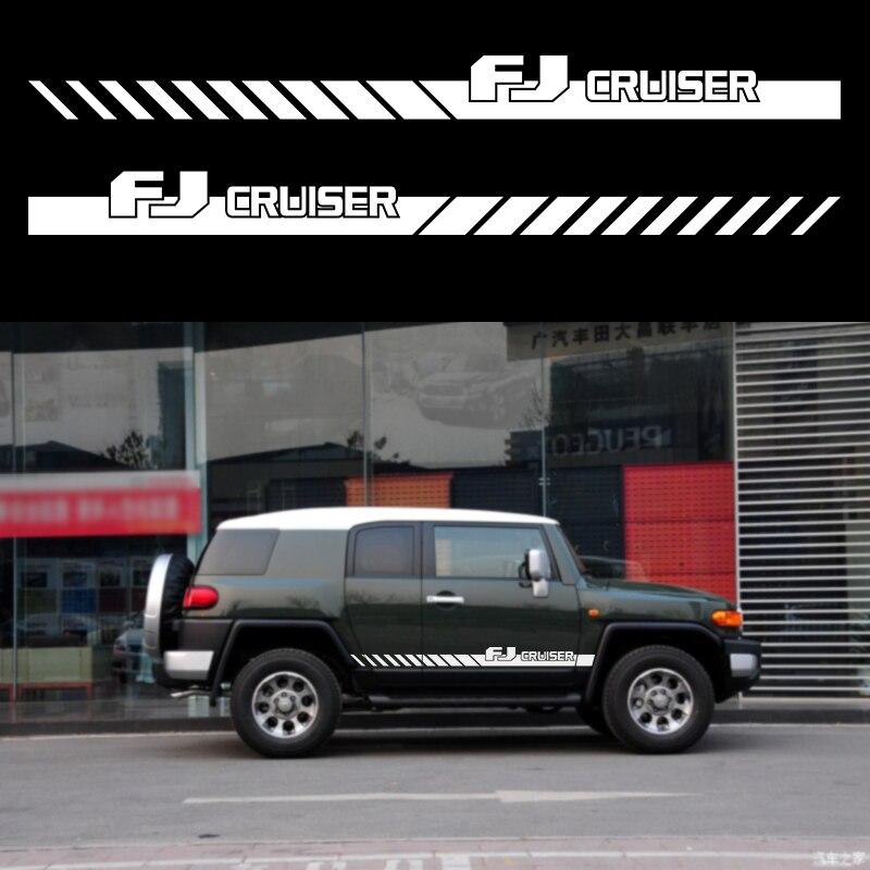 Pegatinas de coche lateral para carrocería Puerta de gradiente de estilo gráfico vinilo coche accesorios calcomanías personalizado para toyota FJ CRUISER 2006-2018