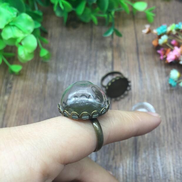 50sets antiguo Corona de bronce borde de encaje ajustable anillo bandeja 20mm de la Ronda de cúpula de vidrio hecha a mano diy vial anillo kit encanto