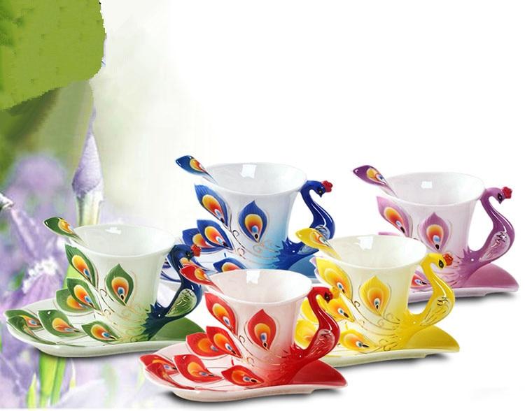 3D Peacock Enamel Coffee Mug Cup Set Ceramic Tea Milk Drinkware Creative China Bone Friend Gift