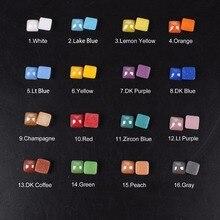 Perles en céramique   Couleur mixte, 17 couleurs carrées, 4mm-10mm, bricolage, pierres plates et accessoires dart aux ongles, livraison gratuite