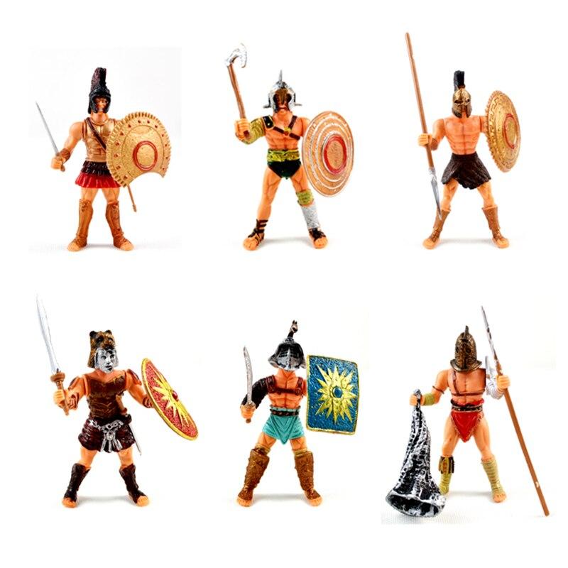 6 unids/set guerrero de juguete Medieval soldado figuras de acción armas guerra Mini modelo juego militar DIY para niños regalos adultos