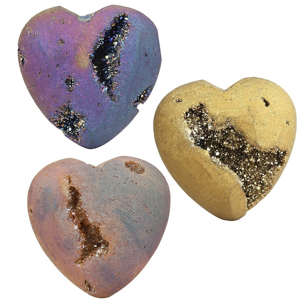 TUMBEELLUWA Titanium Coated Agate Druzy Geode Heart Crystal Quartz Gem stone Worry Healing Palm Stone 1.5 Inches недорого